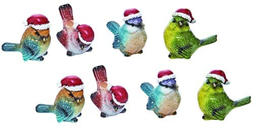 TII Set of 8 Small Christmas Birds, Songbird Figurines with Santa Hats in Realistic Colors and Poses - 2 inches high x 2.25 Inches