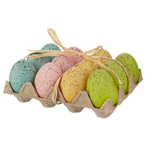 Raz Set of 12 Speckled Easter Eggs, 2.75 Inches x 1.5 inch Faux Easter Eggs in Egg Crate Gift Packaging