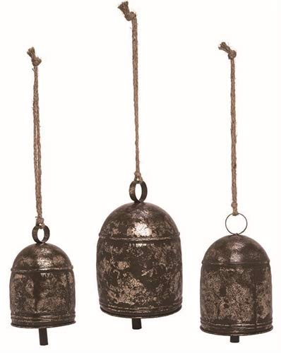 TII Set of 3 Metal Hanging Bells in Gold/Bronze Rustic Finish - 8.75, 7.75 and 5.75 Inches High