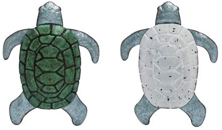 Set of 2, Metal Sea Turtle Wall Art in Galvanized Metal with White and Sea Green Finish 17 Inches x 12 Inches Each