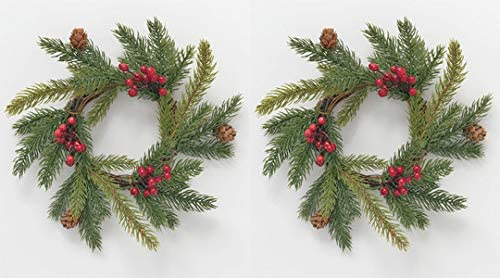 TenWaterloo Set of 2 Artificial Pine Christmas Candle Rings with Pine Cones and Berries, 7.5 Inches