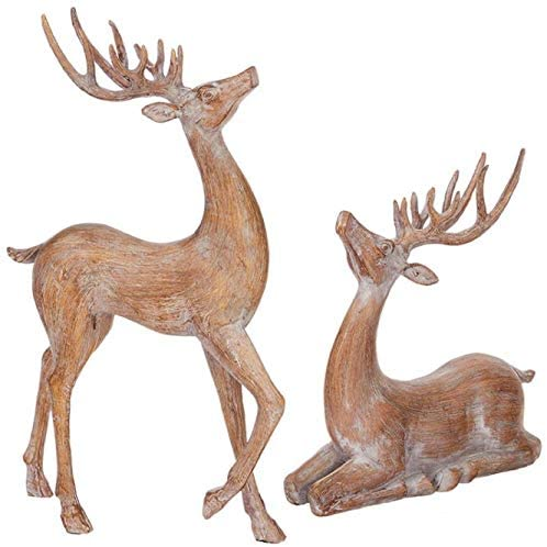 Set of 2 Natural Christmas Deer, Standing and Seated Reindeer in Natural Wood Look Molded Polyresin, 14.5 Inches and 10 Inches High