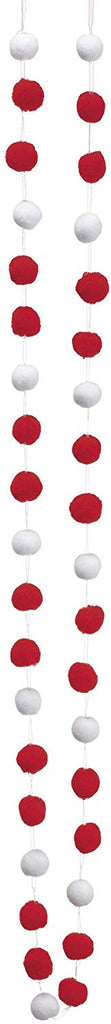 Allstate 72 Inch Long Pom Pom Garland - Red and White - Christmas and Holiday Decor - 6 Foot Garland
