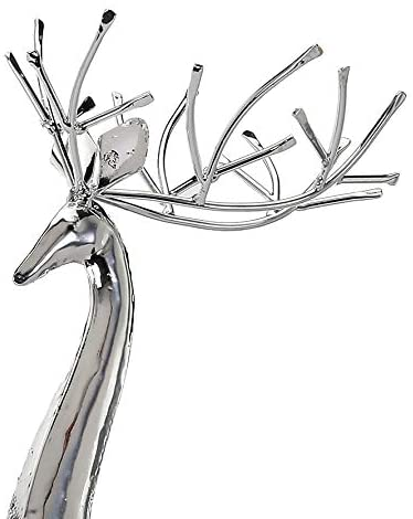 TenWaterloo 17 and 18 Inch High Silver Christmas Deer Set of 2, Decorative Metal Holiday Reindeer