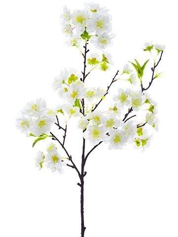 Ten Waterloo Cherry Blossom Flower Sprays, Set of 4 Artificial White Cherry Blossom Stems 18 Inches High