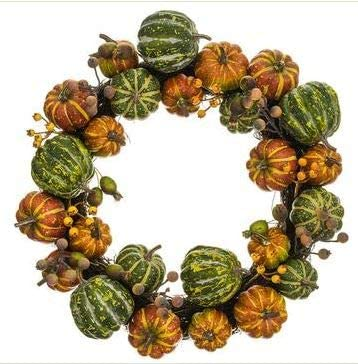 TenWaterloo 18 Inch Fall Pumpkin and Gourd Wreath, Artificial