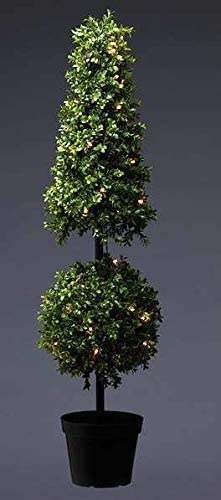 42 Inch Lighted Artificial Boxwood Cone Topiary with UV Protection - Battery Operated with Timer - 50 LED Lights in Pot