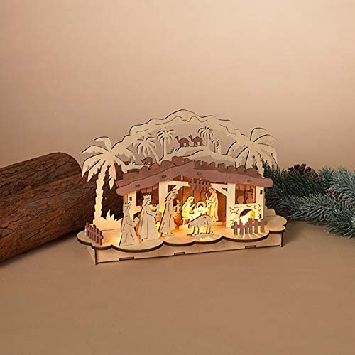 TenWaterloo 12 Inch Lighted Cut Wood Christmas Nativity with Creche, Battery Operated