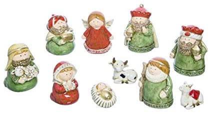 TII Set of 10 Ceramic Christmas Nativity Figurines, 4.25 Inches High, Soft Green and Nutmeg Red