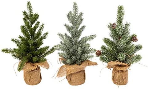Set of 3 Tabletop Christmas Pine Tree with Burlap Bases, 14 Inch Artificial Pine, Weighted Bases