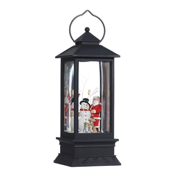 Lighted Snow Globe Lantern: 11 Inch, Black Holiday Water Lantern by RAZ Imports (Santa and Snowman)