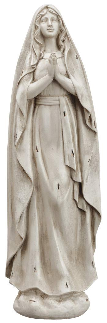 Praying Mary Figurine, Sculpted with Flowing Robes at 16.5 Inches Tall, Weatherproof for Garden or Entry
