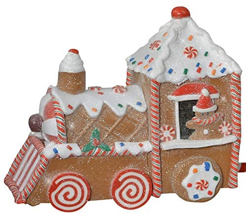 Large Clay Dough Christmas Gingerbread Train, 23 Inches Long, 3 Connected Holiday Trains with a Snowy Glittered Finish