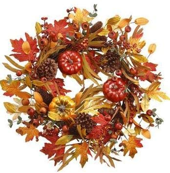 TenWaterloo 20 Inch Artificial Fall Pumpkin, Fall Leaves and Berries Wreath on a Natural Vine Base