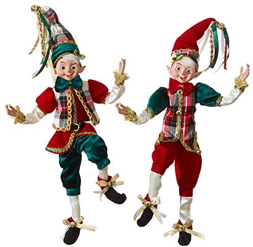 "Set of 2 Raz 16"" Dark Green and Red Plaid Posable Elf Christmas Figure 3902256"