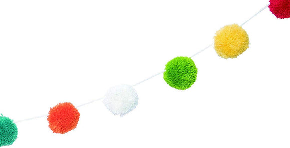 6 Foot Real Yarn Pom Pom Garland, Colorful Real Yarn Pom Poms on White Cord with Hanging Loops, 3 Inch Yarn Balls