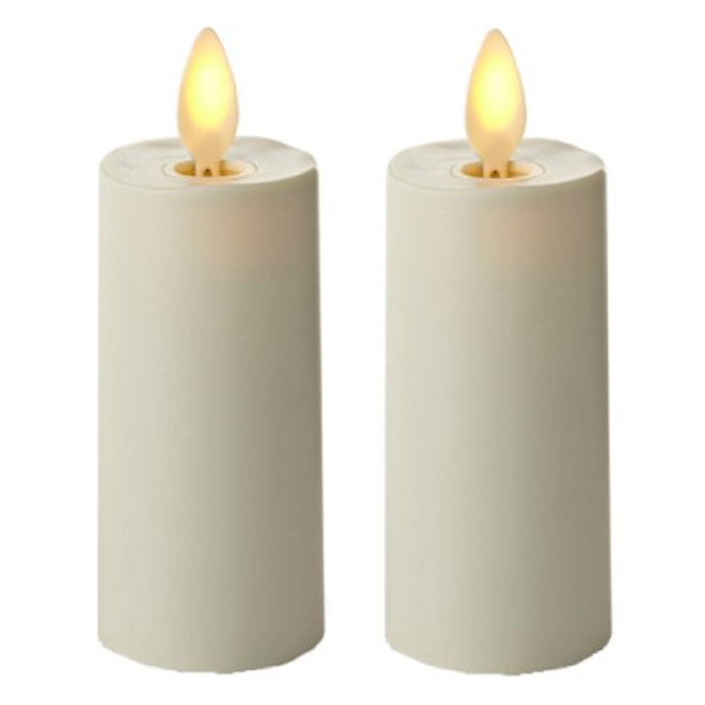 "Set of 2 Luminara Votive Flameless Candles:  1.75""x3"" Ivory Unscented Moving Flame Candles with Timer"
