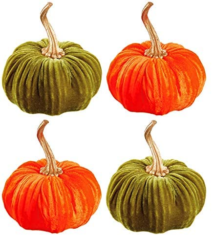 TenWaterloo Set of 4 Velvet Pumpkins in Orange and Sage Green with Gold Stems, 5.5 Inches
