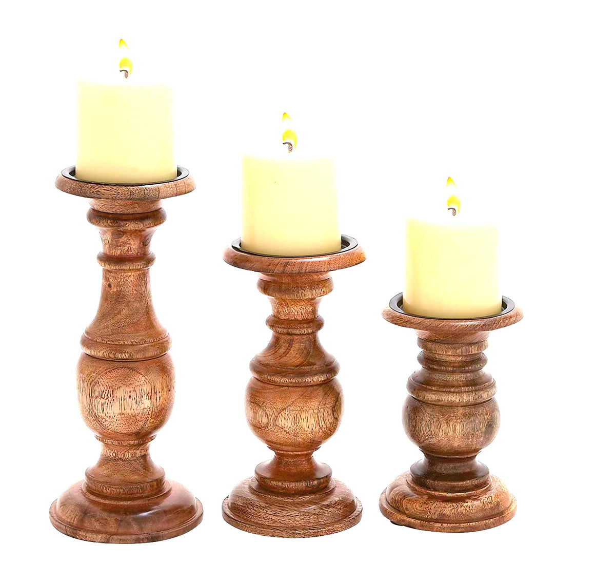 "Wood Candle Holder S/3 10"", 8"", 6""H"