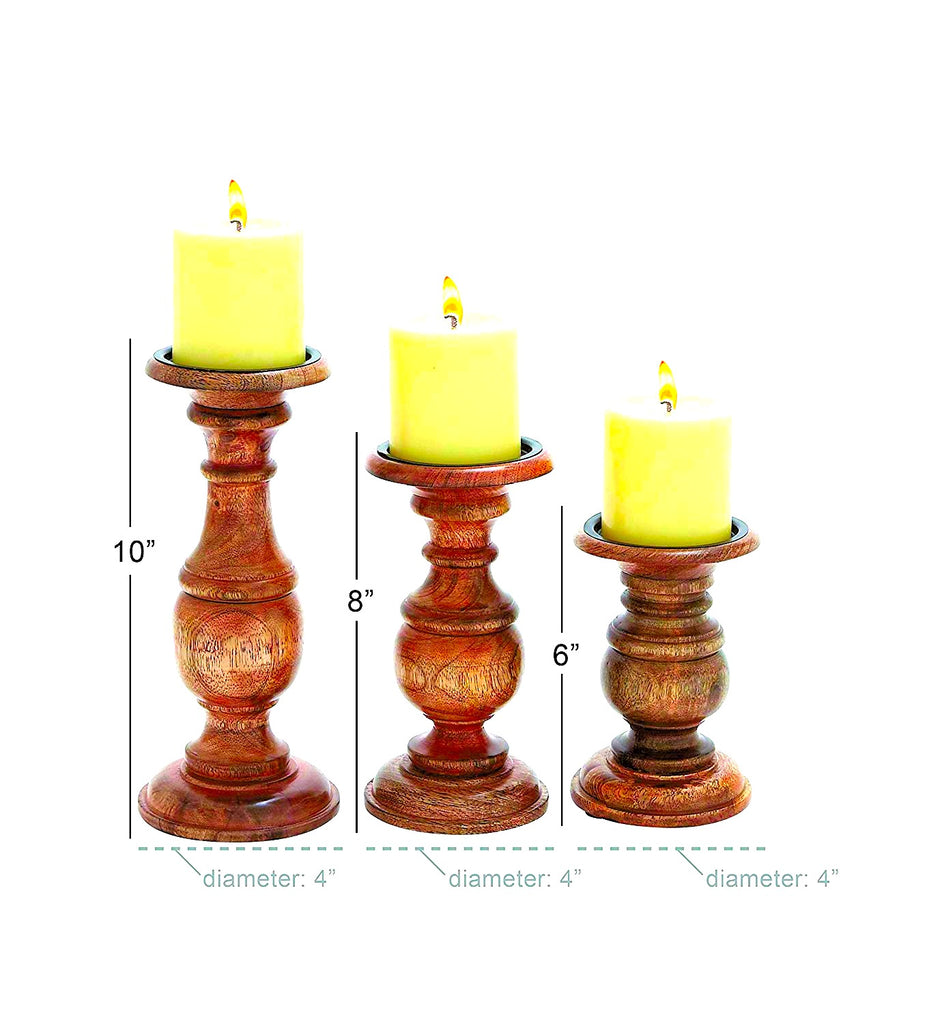 "TenWaterloo Wood Candle Holder S/3 10"", 8"", 6"" H"