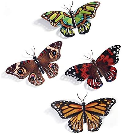 Set of 4 Metal Enameled Butterfly Hanging Wall Art, 13.5 Inches 8 Inches, 4 Designs