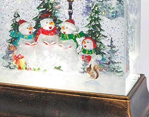 TenWaterloo Lighted Christmas Water Lantern Snow Globe with Caroling Snowmen, 8.5 Inch Battery Operated with Timer, Lighted Water Lantern with Swirling Glittered Snow Effect