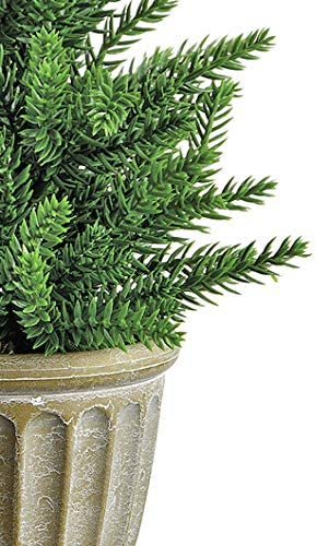 14 Inch High Potted Artificial Topiary Pine Christmas Tree in Urn, Tabletop Christmas Tree