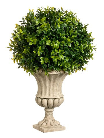 16 Inches High Boxwood Ball-Shaped Artificial Topiary Plant With Decorative Urn