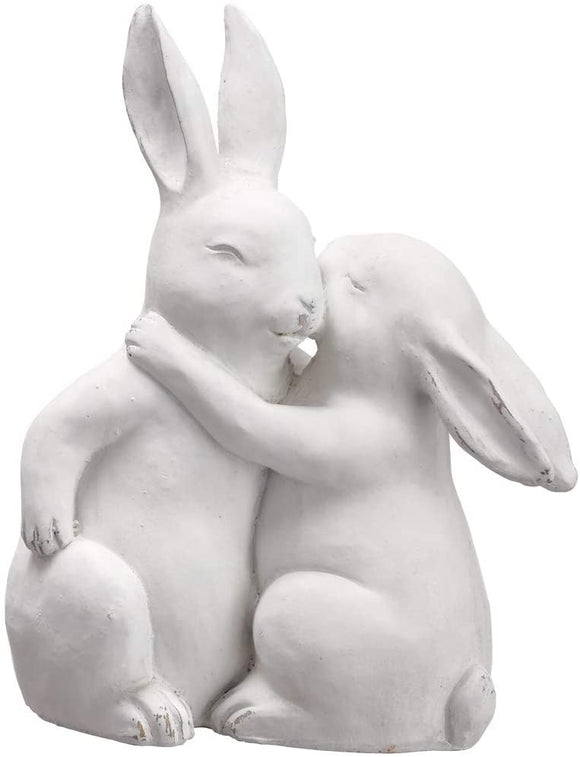 Allstate Loving Bunny Couple, Easter Bunny Sculpture in White 10 Inches High
