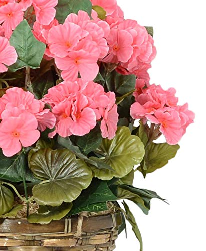 18 Inches High Hanging Pink Geranium Flowering Plant in Wicker Basket, Artificial Floral