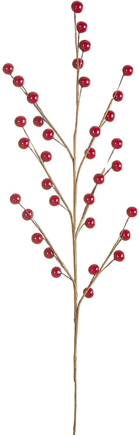 Set of 12 Red Berry Sprays, Artificial Red Berry Stems on Wired Branches, 18 Inches