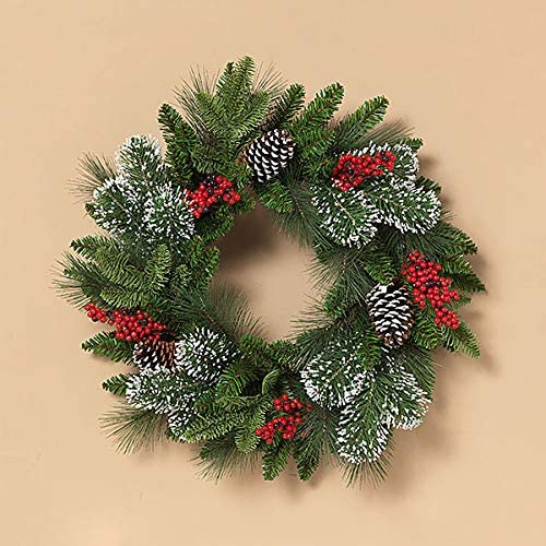 TenWaterloo 20 Inch Artificial Mixed Pine Christmas Front Door Wreath with Pine Cones, Red Berries and Snowy Tipped Boughs