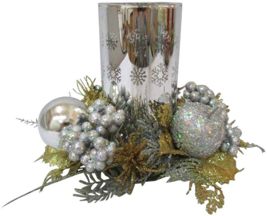 TenWaterloo Gold and Silver Christmas Glass Candle Holder with Glittered Berries and Ornaments, 8 Inches Wide x 6 Inches High, Pillar Candle or Votive Candle Holder