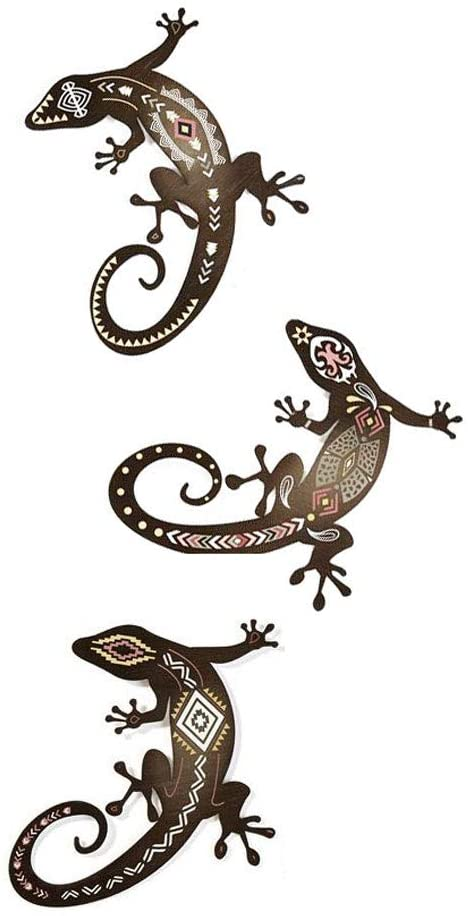 Set of 3 Metal Gecko Hanging Wall Art, 10.5 Inches, 3 Designs