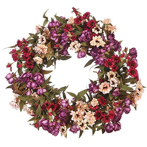 Raz 20 Inch Spring Artificial Dried Floral Look Wreath with Hand Tied Twig Base
