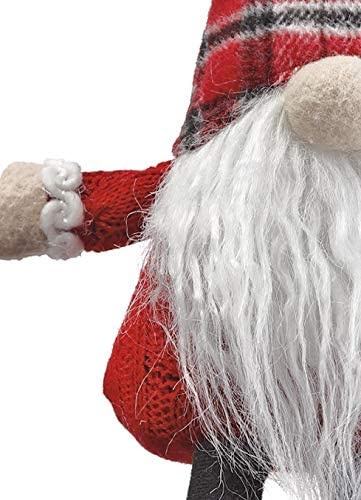 Allstate 9 Inch Santa Christmas Gnome Shelf Sitter, Plush Gnome with Red Plaid Cap
