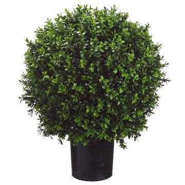 "2'2"" Boxwood Ball-Shaped Artificial Topiary w/Pot Indoor/Outdoor"