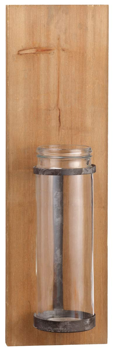 TenWaterloo Wall Vase Candle Sconce, 23.5 Inches high x 7 Inches Wide, Natural Wood and Metal