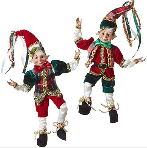 "RAZ Imports Set of 2 - Season's Greeting Collection - 9"" Posable Christmas Elves (Elf Set) - Plaid, Green, Gold, Red -3902272"