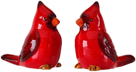 Red Cardinal Christmas Birds Ceramic Salt and Pepper Shaker Set, 2.5 Inches High, Winter and Holiday Table Decor