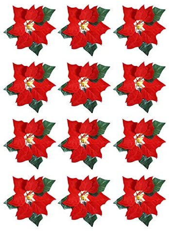 TenWaterloo Set of 12 LED Lighted Christmas Poinsettia Blooms on Clips with Timers- 7 Inch Artificial Velvet Red Poinsettias with Lights - Christmas Ornament Flowers