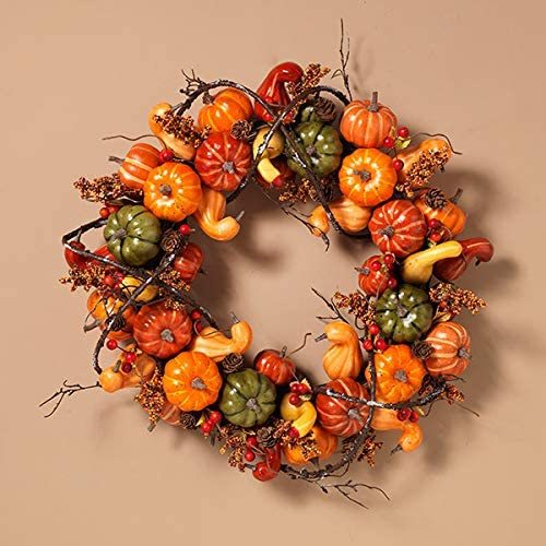 TenWaterloo Festive Fall 20 inch Wreath with Pumpkins, Gourds, Berries and Entwined Branches on a Hand Tied Twig Base, Artificial