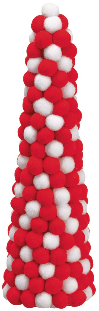 TenWaterloo Christmas Pom Pom Cone Tree in Red and White, Topiary Red and White Christmas Tree, 13.5 inches High