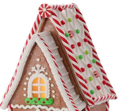 TenWaterloo 12 Inch Led Lighted Gingerbread Peppermint Candy A-Frame House with Timer in Clay Dough Resin with Frosted Snow Look, Battery Operated