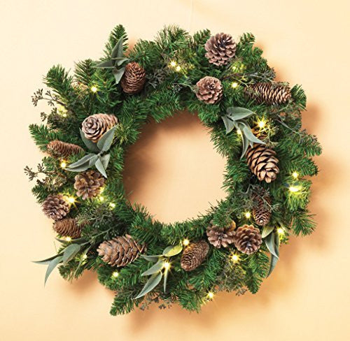 "Cordless 24"" Pre-lit LED Pine Wreath with Cones"