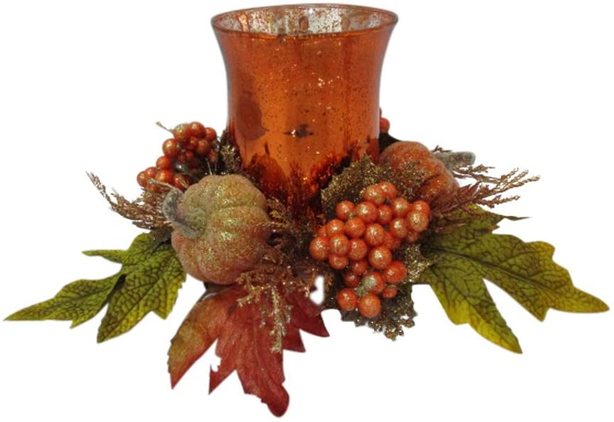 TenWaterloo Fall and Thanksgiving Pumpkin and Berry Glass Candle Holder, 10 Inches Wide x 6 Inches High, Pillar Candle or Votive Candle Holder