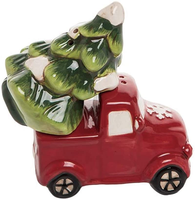 Christmas Truck and Tree Salt & Pepper Set - Red Christmas Farm Truck Decor