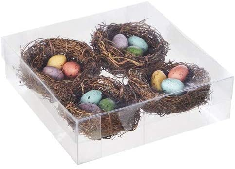 Raz 4106644 Artificial Nest with Eggs, Set of 4, Styrofoam