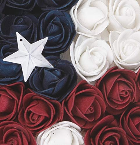 TII Patriotic Red, White and Blue Roses Hanging Star - 18 inches Wide, Polyfoam Roses