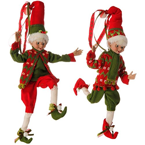 "16"" Red and Green Holly Posable Elf Set"